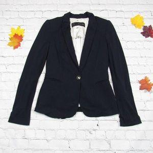 Zara Basic Navy Blue Blazer Lined Shoulder Pads